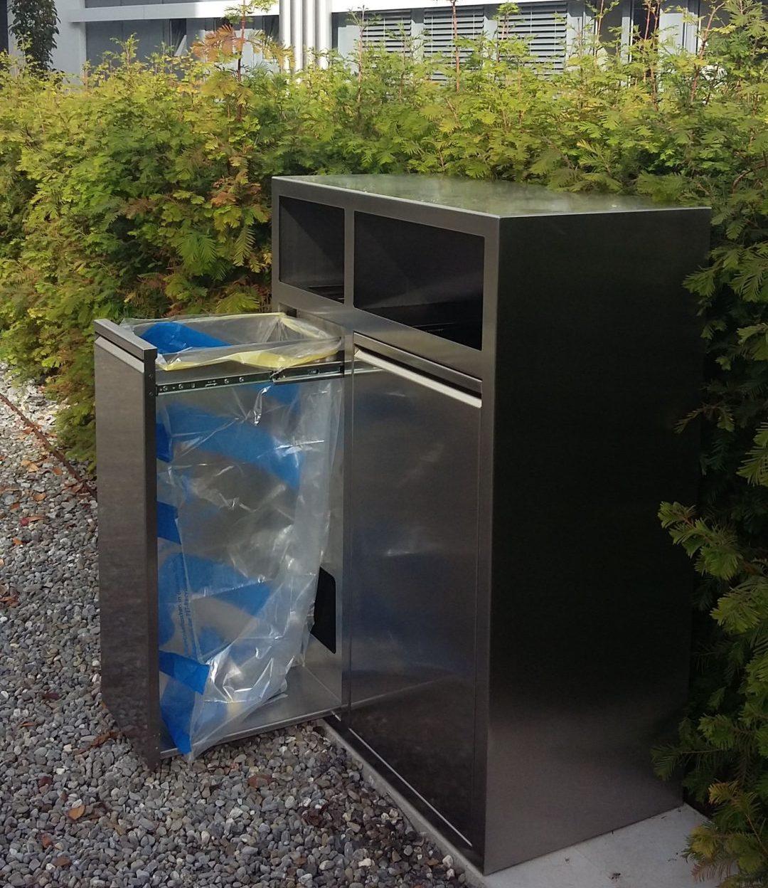 K2, Recyclingstation, Wertstofftrenner, Abfallbehälter, 110 Liter, PET, Abfall, Recycling Station, Public Waste bin, Poubelle Recyclage, Edelstahl, Inox